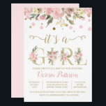 "Its A Girl Watercolor Floral Baby Shower Invitation<br><div class=""desc"">Girl watercolor floral pink and gold baby shower invitation with pretty watercolor flowers and gold floral Its a Girl words. This elegant pink and gold baby shower invitation is easily customized with your text. You can also add a background color to the front and back.</div>"