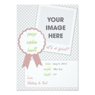 It's A Girl Welcome Baby Notice Custom Announcement