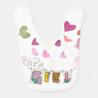 It's A Girl - With Hearts - Baby Bib