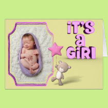 It's A Girl With Photo and Baby Bear Card