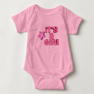 It's A Girl With Puffy Pink Star Baby Bodysuit