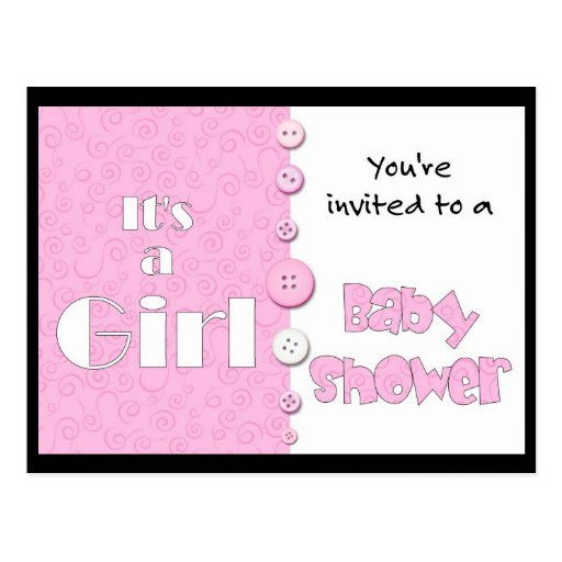It's a Girl You're Invited to a Baby Shower Post Cards