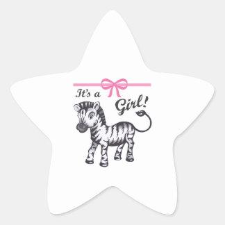ITS A GIRL ZEBRA STAR STICKER