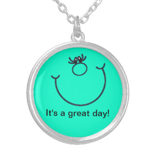 It's a great day! Smiley Silver Plated  Necklace