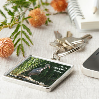 It's a Heron Thing Silver-Colored Square Keychain