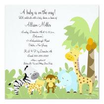 "It's A Jungle Baby Animails Baby Shower Invitation 5.25"" Square Invitation Card"