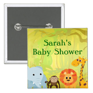 It's A Jungle Baby Shower 2 Inch Square Button