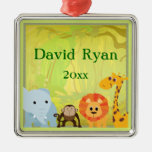 It's A Jungle Baby Shower Square Metal Christmas Ornament