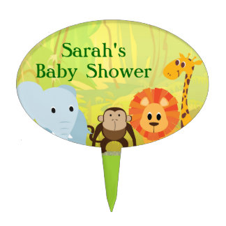 It's A Jungle Baby Shower Oval Cake Topper