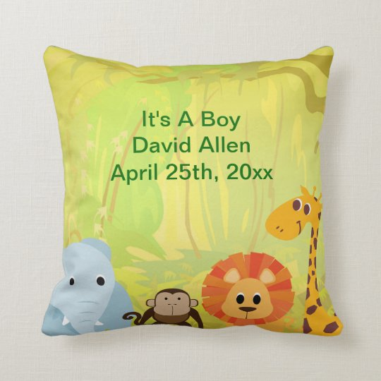 It's A Jungle Baby Shower Throw Pillow