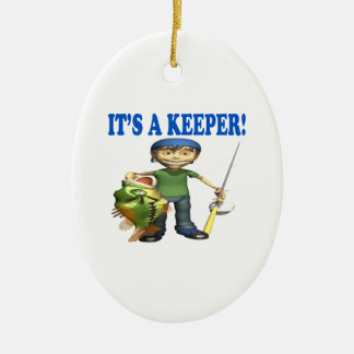 Its A Keeper Double-Sided Oval Ceramic Christmas Ornament