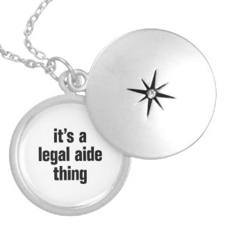 its a legal aide thing round locket necklace