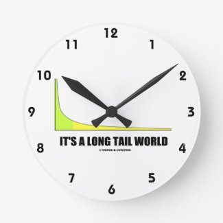 It's A Long Tail World Power Law Graph Humor Wall Clock