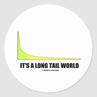 It's A Long Tail World Power Law Graph Humor Round Sticker
