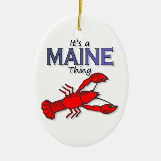 It's a Maine Thing - Lobster Double-Sided Oval Ceramic Christmas Ornament