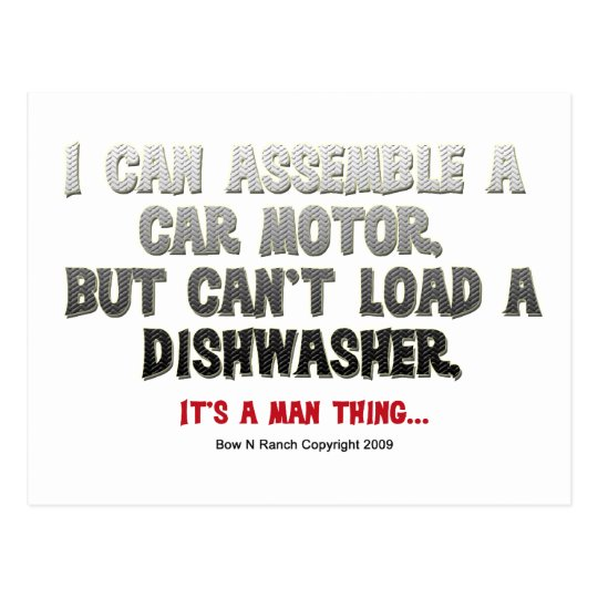 It's a Man Thing: Can't load a dishwasher Postcard