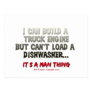 It's a man thing: Engine vs. Dishwasher Postcard