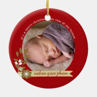 It's a Merry Christmas custom photo/name Ceramic Ornament