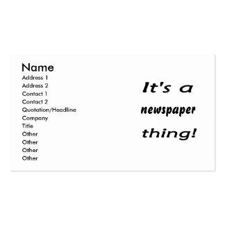 It's a newspaper thing! Double-Sided standard business cards (Pack of 100)