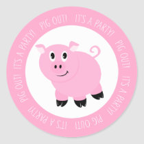 It's A Party Pig Out Pink Piggy Birthday Party Classic Round Sticker