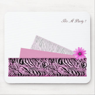 its a party pink zebra mouse pad