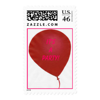 It's a Party! Red balloon postage stamps