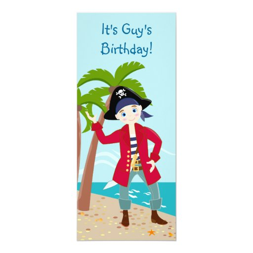 "It's a Pirate party time invitation! 4"" X 9.25"" Invitation Card"