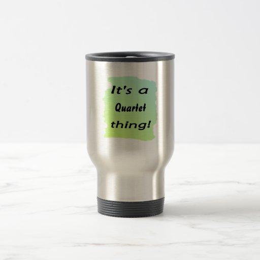 It's a quartet thing! 15 oz stainless steel travel mug