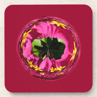 It's a red and yellow flower in the globe beverage coasters