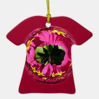 It's a red and yellow flower in the globe ceramic T-Shirt decoration