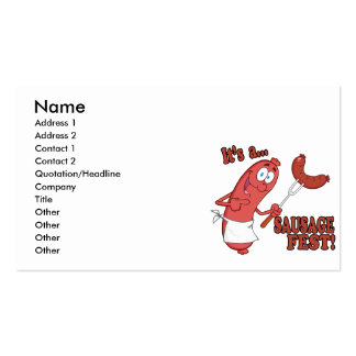 Its a Sausage Fest Funny Sausage Cooking Cartoon Business Card Template