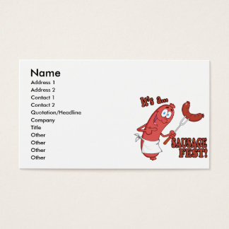Its a Sausage Fest Funny Sausage Cooking Cartoon Business Card