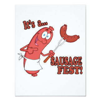 Its a Sausage Fest Funny Sausage Cooking Cartoon Card