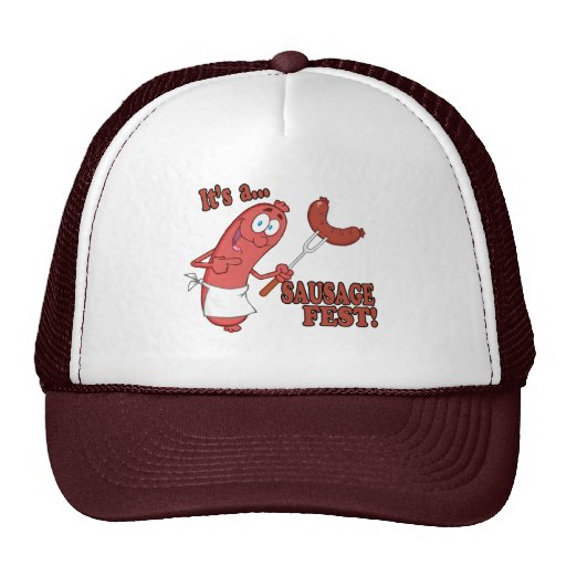 Its a Sausage Fest Funny Sausage Cooking Cartoon Trucker Hats