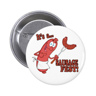 Its a Sausage Fest Funny Sausage Cooking Cartoon Pinback Button