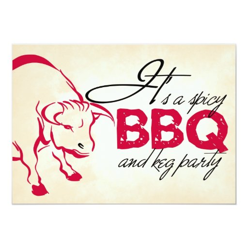 It's a spicy BBQ and keg party invitation