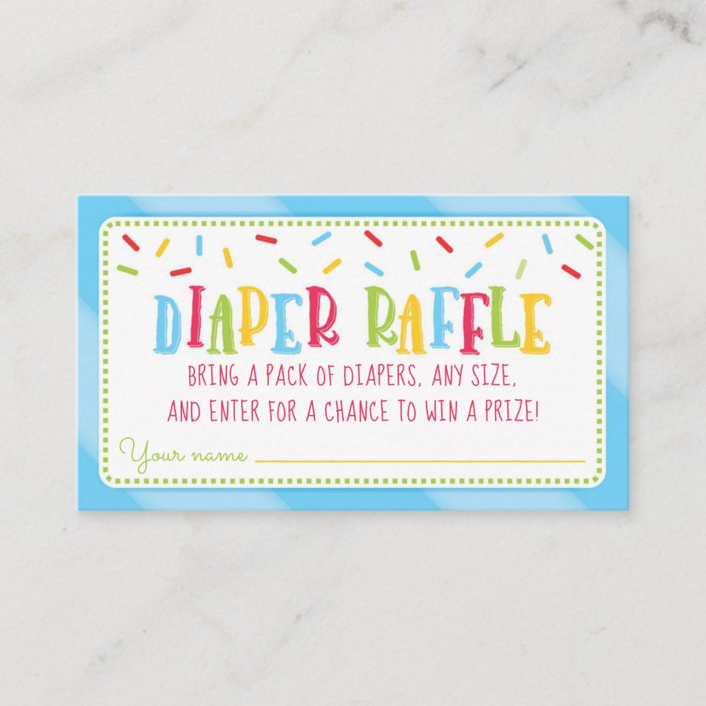 It's a Sprinkle Baby Shower Diaper Raffle blue Enclosure Card