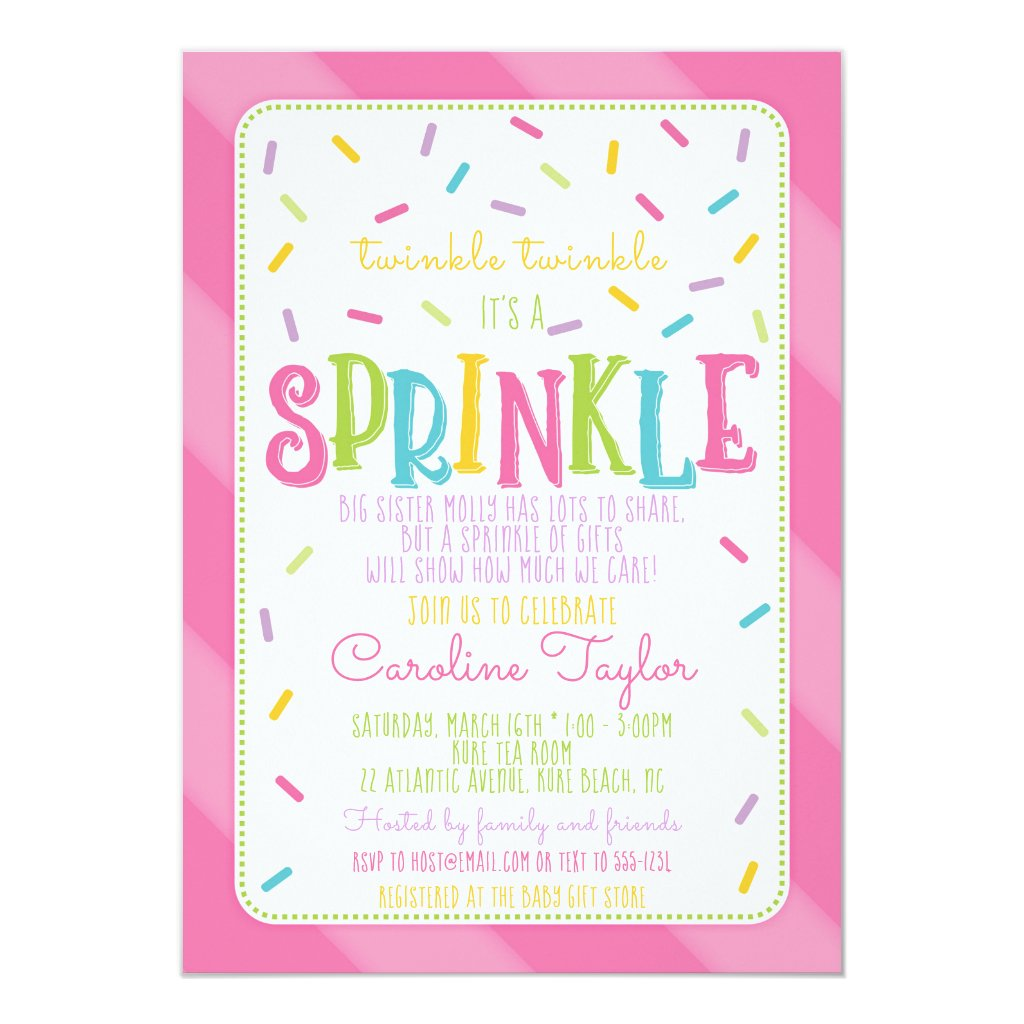 It's a Sprinkle Baby Shower Invitation card pink