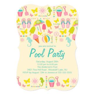 "It's a Summer Beach Pool Party Invitation 5"" X 7"" Invitation Card"