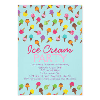 ice cream social invitations & announcements | zazzle, Party invitations