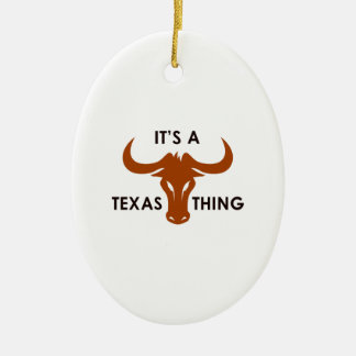 ITS A TEXAS THING Double-Sided OVAL CERAMIC CHRISTMAS ORNAMENT