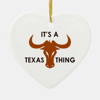 ITS A TEXAS THING Double-Sided HEART CERAMIC CHRISTMAS ORNAMENT