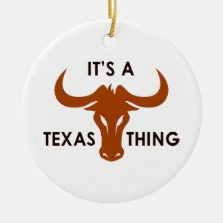 ITS A TEXAS THING Double-Sided CERAMIC ROUND CHRISTMAS ORNAMENT