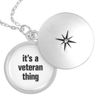 its a veteran thing round locket necklace