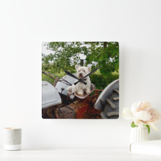 It's a Westie on a tractor! Square Wall Clock