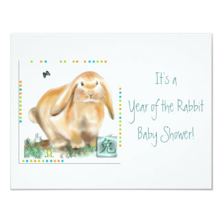 It's a Year of the Rabbit Baby Shower! 4.25x5.5 Paper Invitation Card