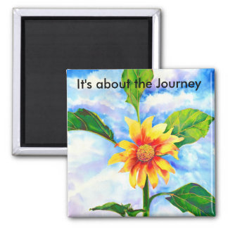 It's about the Journey - Sunflower 2 Inch Square Magnet