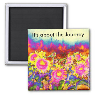 It's about the Journey - Sunflower Fields 2 Inch Square Magnet