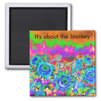 It's about the Journey Sunflower Fields  - Blue 2 Inch Square Magnet