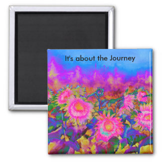 It's about the Journey Sunflower Fields  - pink 2 Inch Square Magnet
